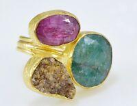 Ottoman Gems Semi Precious Gem Stone Ring Gold Plated Emerald Druzy Ruby