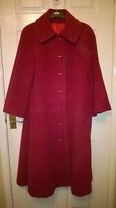 zakken zijsplitjes uitlopende knopen ongeveer Dames mouwen jas wollen rode maat 16 4qwwTZf
