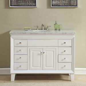 Details About 48 Inch Off White Carrara Marble Top Bathroom Vanity Single Sink Cabinet 0318w