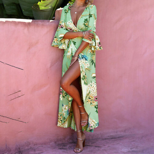 Womens Boho Long Wrap Dress Floral Split Summer Evening Party Cocktail Dresses by Unbranded