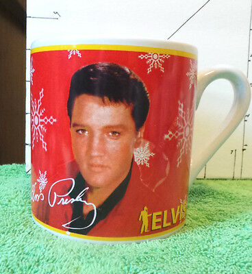 "Elvis, Christmas Cup/Mug, 4"" Red w/Snowflakes,Signature Product w/Official Seal"