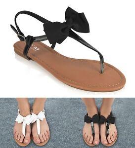Senoras-Mujeres-Toe-Post-Plana-Flip-Flop-Verano-Playa-de-Vacaciones-Sandalias-Zapatos-Talla