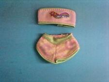 My Scene Barbie Doll Clothes Set Pink & Green Strapless Bikini Top & Bottom Lot