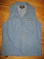 ~Harley Davidson~Womans Blue Jean Button Sleeveless Top/Shirt, Size XS, EUC