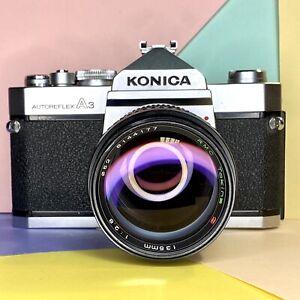 Konica-Autoreflex-a3-35mm-SLR-Filmkamera-amp-Tokina-f-2-8-135mm-Objektiv-getestet-Lomo