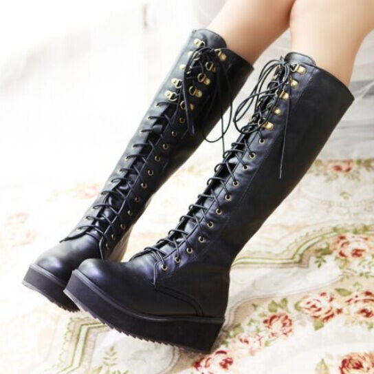 Womens Flat Heel Knee High Boots Buckle Punk Goth Platform Lace Up Creeper Shoes
