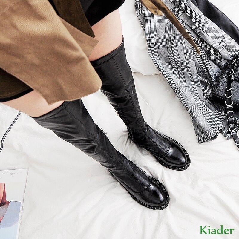 Gladiador de Sobre Mujer Estilo Retro Tire Elástico Sobre de Rodilla Muslo Botas Zapatos Botas Slouchy S c6b0ab