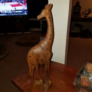 Details about Hand Carved From Wood In Kenya AFRICAN Giraffe Figure