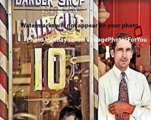 Nice-Unique-Vintage-1939-Depression-Era-Barber-Shop-Barber-Pole-Hair-Cuts-Photo