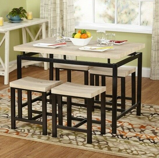 5 Pc Kitchen / Dining Set 4 Seat Small Spaces Nook Natural Top Black Stools  NEW