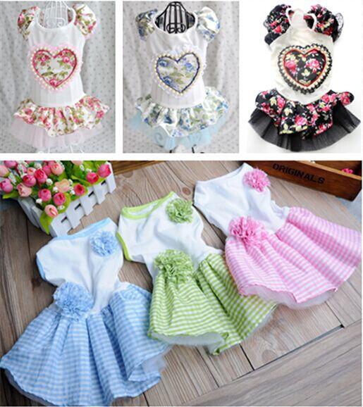 Small girl pet dog pet clothes apparel gauze skirt summer flower princess dress