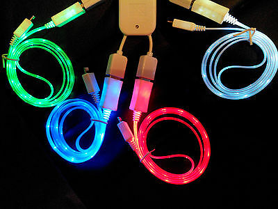 LED Light Micro USB Charger Data Sync Cable for Samsung Galaxy S4 HTC Android CN