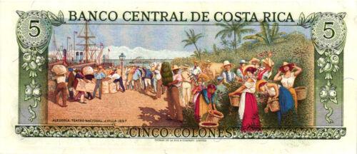 A Nice 1989 Banco Central De Costa Rica Cinco Colones Bank Note CH CU #236d