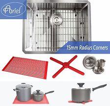 "Ariel 23"" 15mm Radius Square Stainless Steel Kitchen / Island Bar Sink Combo"