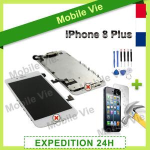 ECRAN COMPLET VITRE TACTILE+LCD RETINA ASSEMBLÉ POUR IPHONE 8 PLUS BLANC +OUTILS