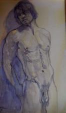 Original art Male Nude watercolor signed