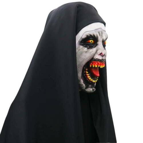 Halloween The Town Nun Latex Mask Scary Horror Fancy Dress Party Costume Cosplay