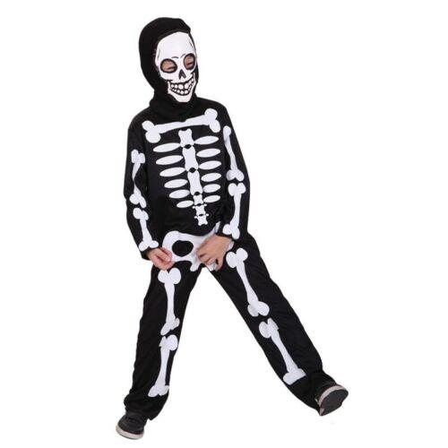 Boys Scary Skeleton Bones Costume Cosplay Kids Child Halloween Party Fancy Dress
