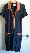 BEAUTIFUL TROVATA NAVY AND CORAL COTTON KNIT 30's STYLE DRESS size L