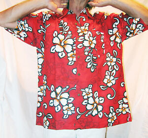 0259e355f LOUD HAWAIIAN SHIRT, DARK RED WITH HIBISCUS, THICKER MATERIAL, Stag ...