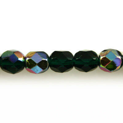 50 6mm Round Faceted Czech Glass Fire Polish Beads Dark Amethyst Purple Vitral