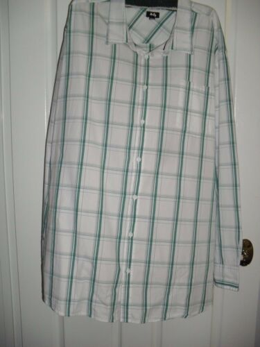 3XL  7XL COTTON BUTTON UP COOL LONG SLEEVE SHIRT GREEN WHITE TARGET BNWT $29