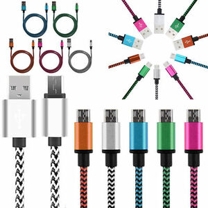 tresse-Aluminium-Micro-USB-Donnees-amp-Synchronisation-Chargeur-Cable-Cordon