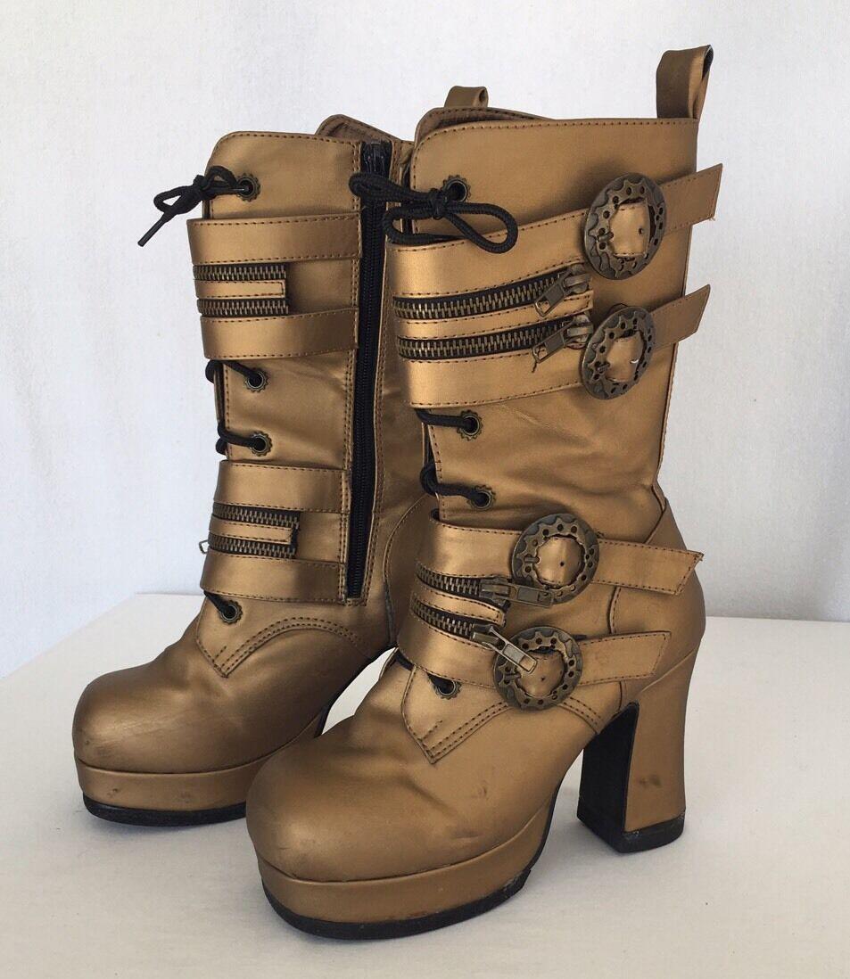 Demonia Gothika-100 damen US 7 Bronze Metallic Mid Calf Stiefel Steampunk Comic Con