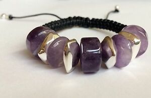 Silver-Amethyst-Stone-Rope-Bracelet-6-9-034-Purple-Plated-Adjustable-US-Seller