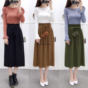Women-Korean-Wool-Skirt-Casual-Stretch-High-Waist-Pleated-Long-A-line-Dress-Hot