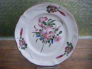 Superbe Plat Assiette Ancien Faience Des Islettes Xixème Faience De L'est Fleurs 8ioz4oei-10044115-306892334