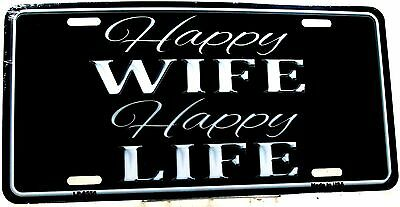 Novelty License Plate Happy Wife Happy Life New aluminum auto tag U.S.A LP-8556