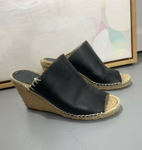Soludos 7 Black Leather Espadrille Mules Wedges Pe