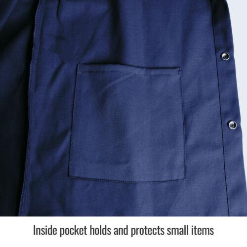 """Revco Black Stallion 30/"""" 9 oz Cotton FR Navy Welding Jacket Size Small"""