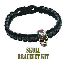 PEPPERELL 95 Parachute Cord Black/Gray Skull Buckle Bracelet Kit