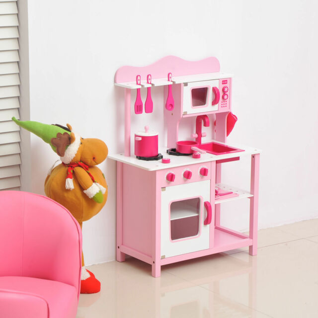Kids Wooden Play Pretend Pink Kitchen Set With Accessories Children