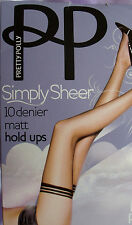 Pretty Polly Simply Sheer Silky MATT 10 Den Hold Up Stockings Sherry Tan M/L