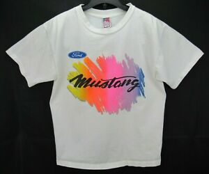 Vintage Ford Mustang Men's Size Large T Shirt White Spell Out Rare Single Stitch