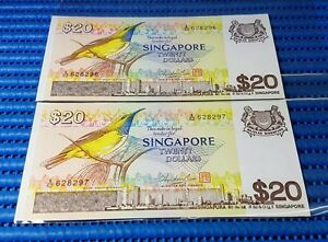 2X-Singapore-Bird-Series-20-Note-A-62-628296-628297-Run-Dollar-Note-Currency