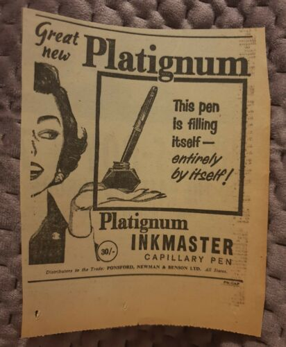 Platignum Inkmaster Caary Pen 1962 Advertisement