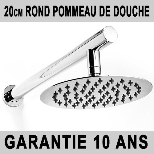 601R 20cm ROND POMMEAU DE DOUCHE BRAS DE DOUCHE ACIER CHROME PLUIE NEUF