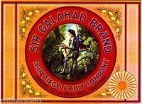 Chula Vista National City Sir Galahad Lemon Citrus Fruit Crate Label Art Print