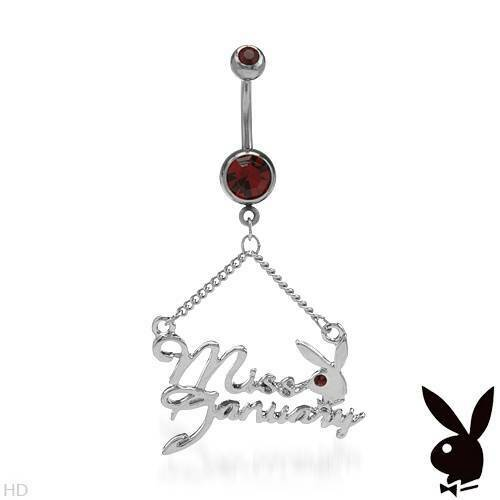 PLAYBOY Miss January Body Ring W//Genuine Crystal Made of Stainless steel