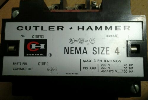Cutler Hammer C10FN3 Size 4 Contactor 135 A 120V Coil 600V SER.A1 CONTACTS 99/%