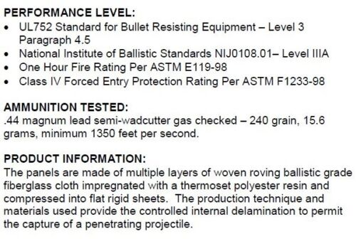 Body ArmorBullet Proof PlatesArmorCoreLevel IIIA 10x12 6x6 Quad BK 3A