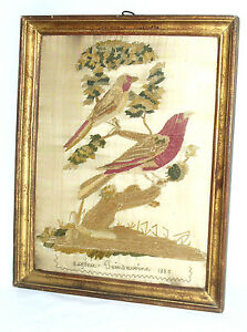 ANCIENNE-BRODERIE-EPOQUE-1830-OISEAUX-BRANCHES-ART-POPULAIRE-XIXE-SIGNE-DATE