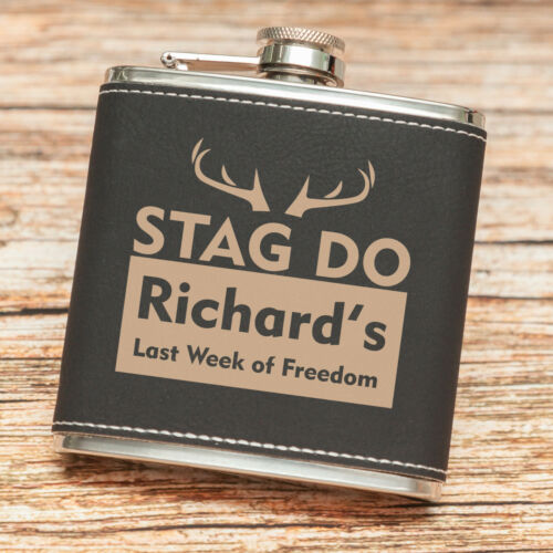 Personalised Hip Flask  Luxury Black//Cream Text Designs UK Exclusive Seller