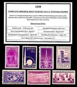 1939 COMPLETE YEAR SET OF MINT -MNH- VINTAGE U.S. POSTAGE STAMPS