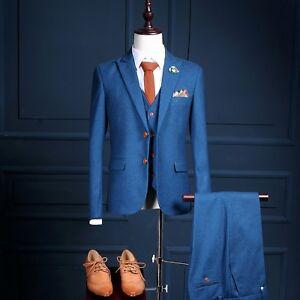 Men-039-s-Blue-3Piece-Classic-Vintage-Slim-Fit-Tweed-Suits-Wedding-Suit-Custom-36-52