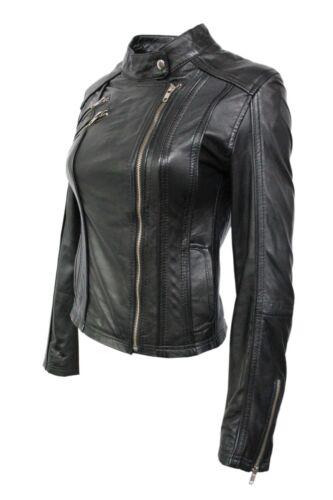 Real donna Black pelle di Nappa in Italian Design Biker lusso Giacca da Style 0RqnAx4t